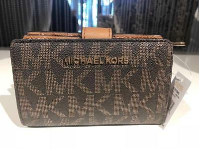 c4caea8ff5a5 Michael Kors Jet Set Travel Brown Acorn Signature Bifold Zip Coin Wallet NWT