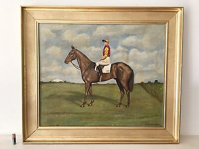 Vintage Oil Painting Racehorse Derby Winner 1937 Mid-day Sun Gilt Frame Signed