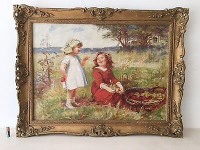 Antique Vintage Oil Painting Young Girls The Apple Pickers Gilt Rococo Frame