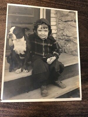 Boston Terrier Bulldog Child Photo Large Vtg