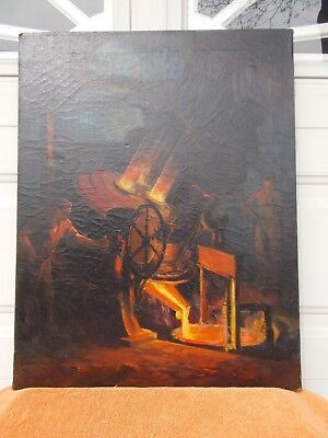 Antique WPA ? Oil Painting Steel Mill Industrial Machine Age Signed Original