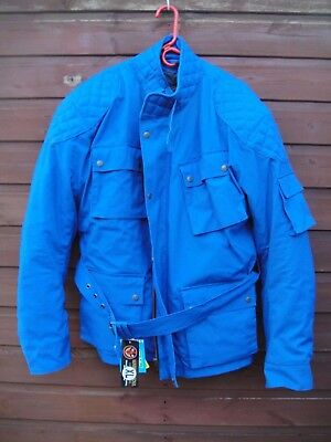 Barbour Style Warrior Soul  Motorcycle Wax Jacket Reinforced  XL Blue BNWT