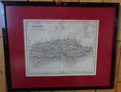 J.Archer c1840 Map of Sussex Lithographed first to show 'railroads' frame glazed