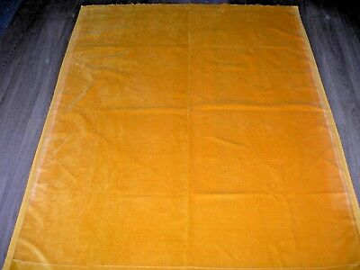 "Vintage yellow Cotton velvet fabric good vintage wear & fading 63"" X 46"""