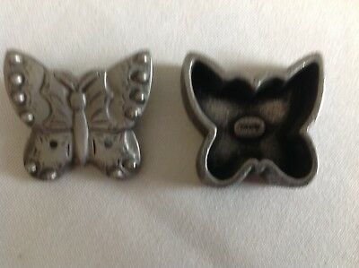 Pewter Butterfly Pin By Torino W/Case
