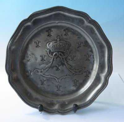 18th C Continental Armorial Heraldic Pewter Plate ~ Fleur de Lys & Crown