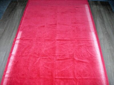 "Vintage red Cotton velvet fabric good vintage wear & fading 90"" X 45"""