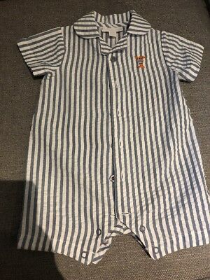 Baby Boys The Little White Company 3-6 Months Stripe Romper All In One