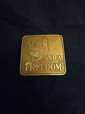 Vintage 1976 Bicentennial Solid Brass Nra Freedom Eagle Square Belt Buckle