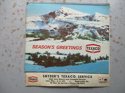 1971 TEXACO 12-Month Calendar from Snyder's Texaco, Quarryville PA