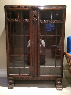 Antique Edwardian Glass Front Bookcase Display Cabinet