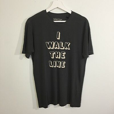 NWT! Lucky Brand Size S Mens Gray Walk The Line Johnny Cash Graphic T-Shirt