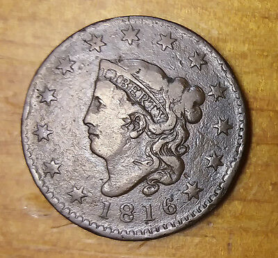 1816 Large Cent Fine + Details - Raw Coin