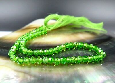 62 AAAAA GREEN RARE GENUINE RUSSIAN CHROME DIOPSIDE FACETED BEADS 6.75cts