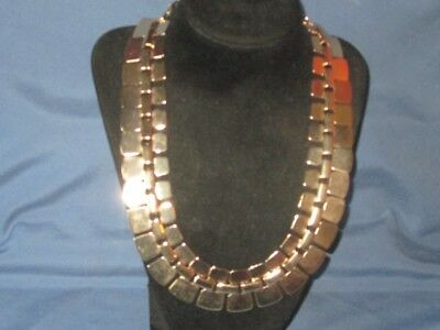 Vintage Signed FTF Gold-Tone Metal Egyptian Style Collar Necklace