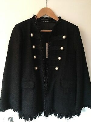 Zara Black Jacket With Pearl Button Detailing NEW