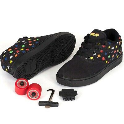 Heelys Girls Boys Motion Plus Trainers sneakers shoes black canvas Size 9 UK
