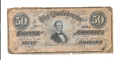 1864 $50 Confederate States Of America Richmond Virginia