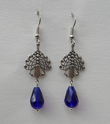 Art Nouveau Tulip Filigree Earrings Dark Silver Plate Deep Blue Glass Drop. Hook