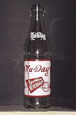 Rare 1949 Nu-Day Sparkling Beverages 7 Ounce Acl Soda Bottle