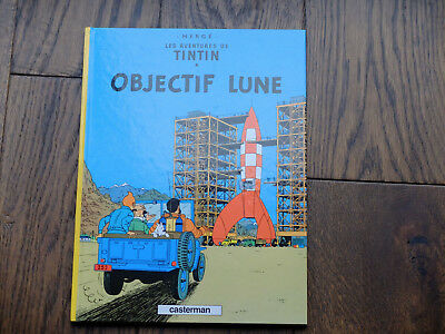 Herge - TinTin - hard backed book - in French - Objectif Lune