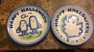 2 M.A. Hadley Holiday Coasters Halloween Studio Art Pottery Signed