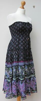 Raviya Black & Purple Paisley Indian Cotton Gauze Gypsy Tiered Bandeau Dress S/m