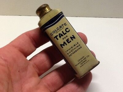 Vintage Colgate Talc For Men Small Advertising Powder Tin Palmolive