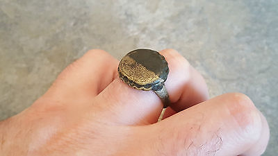 Large Ancient Byzantine Bronze RING (#44) Large Decorated Bezel, 20 mm Diam