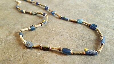 Ancient EGYPTIAN Mummy Bead And ROMAN Glass Necklace, Restrung, 600 BC - 500 AD