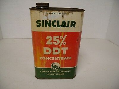 "Antique Advertising ""SINCLAIR"" 25% DDT Can, w/pic of Dinosaur"