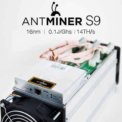 Pre-owned Antminer S9 14 th/s + Free Shipping