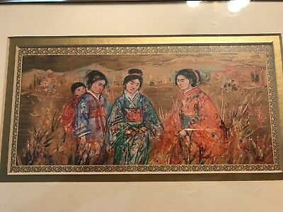 "Vintage Signed Hibel 3 Chinese Women 1 Baby Gold Gilt Print 11""x 7"" Framed"