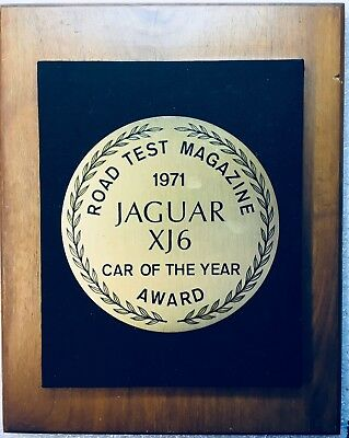"1971 Jaguar XJ6 Showroom WALL PLAQUE ""Car of the year"", from Road Test Magazine!"