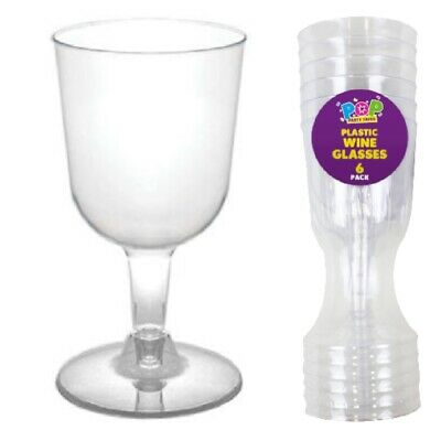 multi Pack Clear Plastic Disposable Party BBQ Wine Glasses 120ml 4oz