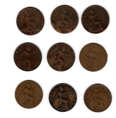 Great Britain - 9-Half Penny - 1861-1930; 6-Farthing - 1915-1945