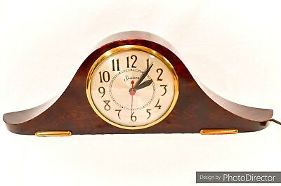 Vintage Art Deco Modernist Sessions Solid Walnut Wood Mantle Clock Brass Accents