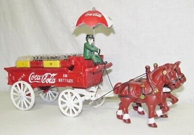 Vintage Cast Iron COCA-COLA Horse Drawn Delivery Wagon W/ Cases & Bottles