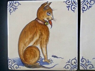 Vintage Delft Art TILE of Sitting CAT Colored Facing right