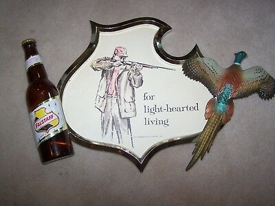 VINTAGE FALSTAFF Beer 3-D Hunting PHEASANT Sign SHOTGUN Gun Bottle Bird Bar OLD