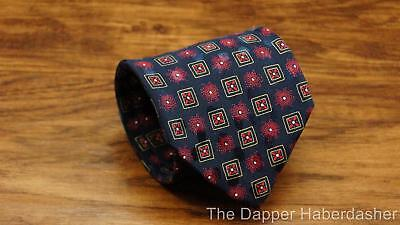 BRIONI Mens Silk Neck Tie Navy Blue Red Bursts Flowers Yellow Squares