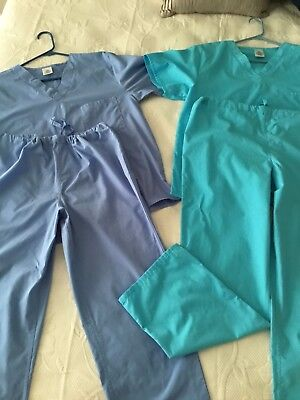 LOT of 2 Sets of Unisex Scrubs Size S Small Blue &Turquoise Good Condition