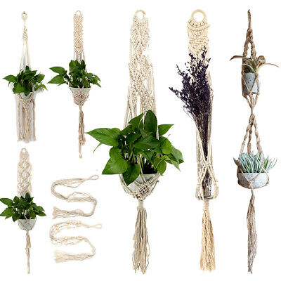 Braided Macrame Plant Hanger Flowerpot Holder Lifting Rope Hanging String Craft