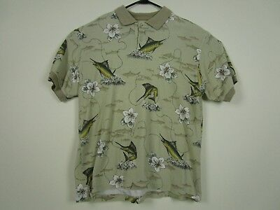 11b462d4a Mens Chaps Ralph Lauren M Beige 2 Button S/S Floral Hawaiian Fish Polo Shirt