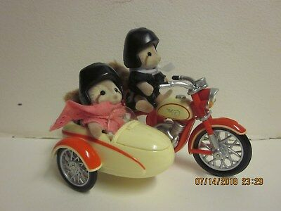 Calico Critters MOTORCYCLE & Sidecar w/ Marvin and Maggie Raccoon - Retired