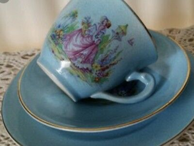 Vintage Aynsley England Bone China Trio Cup Saucer Plate 1930's Stoke On Trent