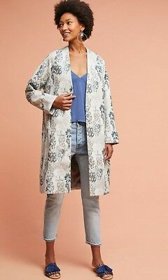 d4dd267dbfe8 NEW Anthropologie $188 Floral Jacquard Coat By Seen Worn Kept Size 6