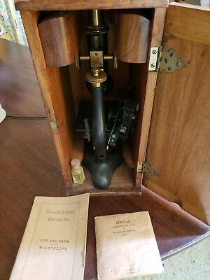 Antique Bausch & Lomb Monocular Microscope w/Case, Use & Care Book, lenses,slide