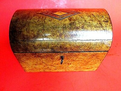Antique 1800S Tea Caddie Inlaid Wood Burl Asian Caddy American 19Th Century Rare