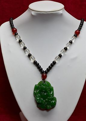 Early CHINESE Glass FOO DOG PENDANT ON BEAD NECKLACE